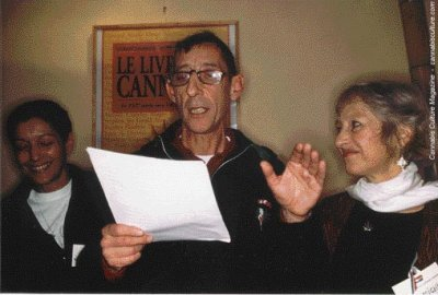Michka (R) and Fabienne flank JP Galland: sent a joint to every member of Parliament.