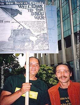 John Gordon(right): protesting the Drug War.