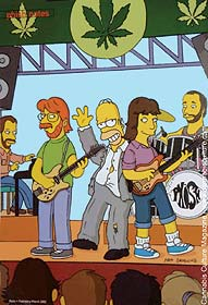 Homer Simpson and Phish: making fun of the med-pot movement.