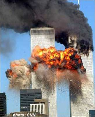 United Airlines Flight 175 hits the WTC south tower.