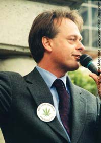 Marc Emery keeps Halifax cops at bay.