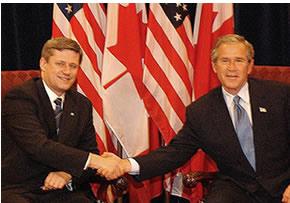 Stephen Harper and George W. Bush