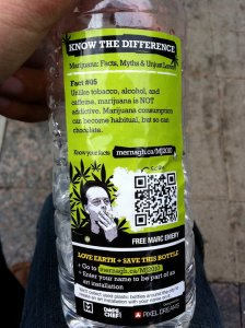 The water bottles handed out by Toronto activists (Photo: Oliver Gee)