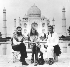 Honeymooning in India - Ralph Metzner, Nena Leary, Timothy Leary at the Taj Mahal 1964