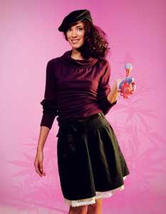• Black hemp skirt with raw silk bow (Hemp Hoodlamb, $60)   • Purple organic cotton top (HT Naturals, $50)   • Black hemp hat (Livity, $45)  • Hippo Glass pipe (CCHQ store, $300)