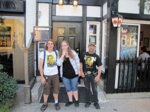 Jeff, Caroline and Daniel outside the Twisted Kilt
