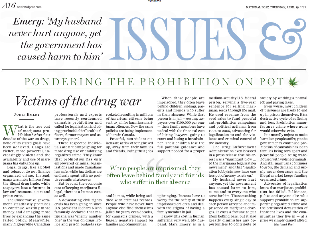 My National Post Newspaper Article Victims Of The Drug War