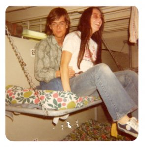 17-year-old Marc inside the ship with friend Julie