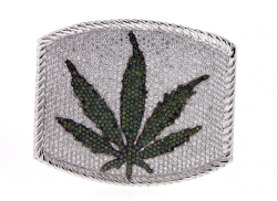 High Prices: Lucien Pellat-Finet is serving up white-gold and diamond custom pot-leaf-emblazoned belt buckles at $56,000.