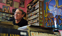 Joe Lee, 62, a regular pot smoker, runs a vintage-record shop in Rockville. He says he has noticed more public acceptance of the drug than when he used it while an art student in Baltimore in the 1960s. (Photo by Bill O'leary)