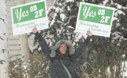 Gabby Thomas is one of the supporters that has been out on the streets of Breckenridge in the past week encouraging people to vote for measure 2F. (Photo by Mark Fox)