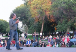 Marc Emery speaking in front of a crowd in Prince Albert, Saskatchewan on his Farewell Tour across Canada. (Photo by Jodie Emery)