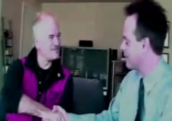 NDP Leader Jack Layton shaking hands with Marc Emery in 2003.