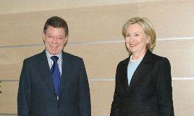 President Santos as candidate, June 2010 meeting with Secretary Clinton.