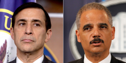 Issa (left) is requesting Holder's communications on the Fast and Furious operation. (Photo by AP)