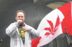 Religious marijuana user and activist Chris Bennett speaking at a pot rally in Vancouver.