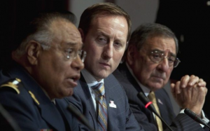 Canadian Minister of National Defence Peter MacKay (center) and United States Secretary of Defence Leon Panetta listen to Mexican Secretary of National Defence General Guillermo Galvan Galvain during a news conference following meetings in Ottawa. (Photo by Adrian Wyld)