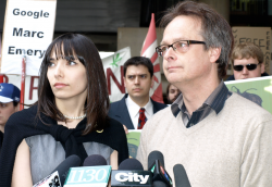 Embattled marijuana activist Marc Emery and his wife Jodie Emery, policing critic for the Green Party, take questions from reporters just before Marc turned himself in to Canadian authorities to be extradited to the US. (Photo by Jeremiah Vandermeer)