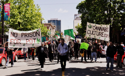 Hundreds march through the streets of Vancouver for the 2010 Global Marijuana March. (Photo by Megan Navarro-McRae)