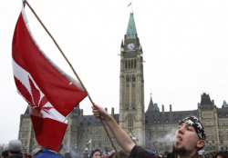 Medical marijuana users rally outside the Canadian Parliament.