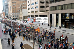 Thousands march through the streets of Toronto for the 2011 Global Marijuana March. (Photo by Jeremiah Vandermeer - click to enlarge)