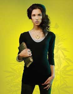 "Megan K. wears:  Natural bamboo/organic cotton ""Lilly"" t-shirt by Livity ($35); olive hemp ""Ladies Lounge Shorts"" by HempHoodlamb ($60); brown hemp ""Ize Cap"" by Livity ($40)"