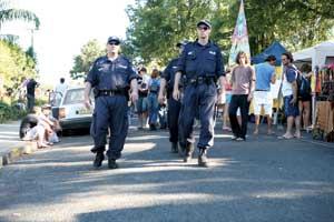 Cops patrolling Nimbin Mardi Grass.