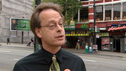 Marc Emery, shown during the 2008 federal election, said recently that he has been denied business licences. (CBC)