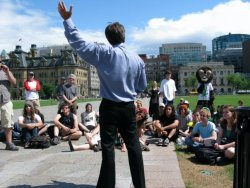 Marijuana activist Marc Emery gives a speech on Parliament Hill in Ottawa on his Farewell Tour on July 19, 2009. (Click pictures to enlarge. Photos by Jodie Emery)