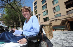 Marilyn Holsten, a diabetic and double leg amputee, is facing eviction from her apartment at the Anavets seniors housing complex at 951 E. 8th Ave. in Vancouver because of her use of medical marijuana.