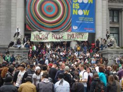 Thousands of pot smokers gathered at the Vancouver Art Gallery for 4/20. (Photo by Jeremiah Vandermeer)