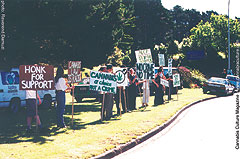 Michael Appleby protests with supporters
