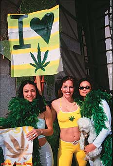 Penthouse Pet and hempster Jazmine Raff (c) with pot fairies.