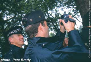 UK cops filming Free Cannabis giving away free cannabis: `foot soldiers of the wealthy elite.`