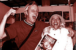 Luc Krol from Paradise Seeds wooping it up with Ali Baba.