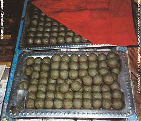 Bhang! Hemp leaves soaked in water, shredded and rolled into balls