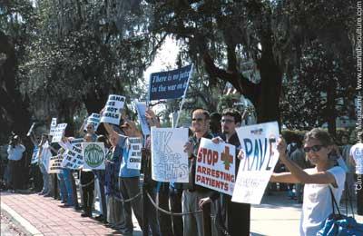 Protestors outside the drug summit.