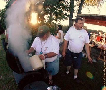 Gideon Israel(left), Tom Crosslin(right) at a `Roach Roast precookout`