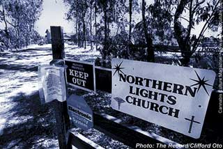 Entrance to the Northern Lights Church: slander and busts.