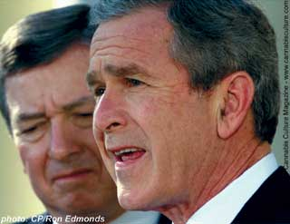 Bush and Ashcroft: ready to invade Holland.