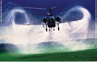 Spraying herbicides: death from the air for plants, animals and humans.