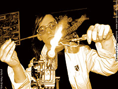 Fiery glass pipe-making demonstration on the Cannabusiness main stage.