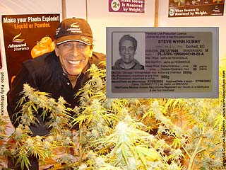 Steve Kubby: licensed to grow (inset) in his legal garden.