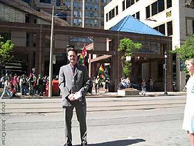 Marc prepares to meet the people.