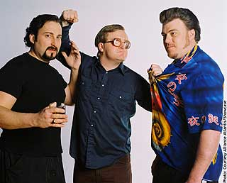 Julian (John Paul Tremblay), Bubbles (Mike Smith) and Ricky (Robb Wells) are the Trailer Park Boys.