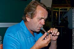 Seed-breeding legend Ben Dronkers, of Sensi Seeds, enjoying a quick hit of hash.