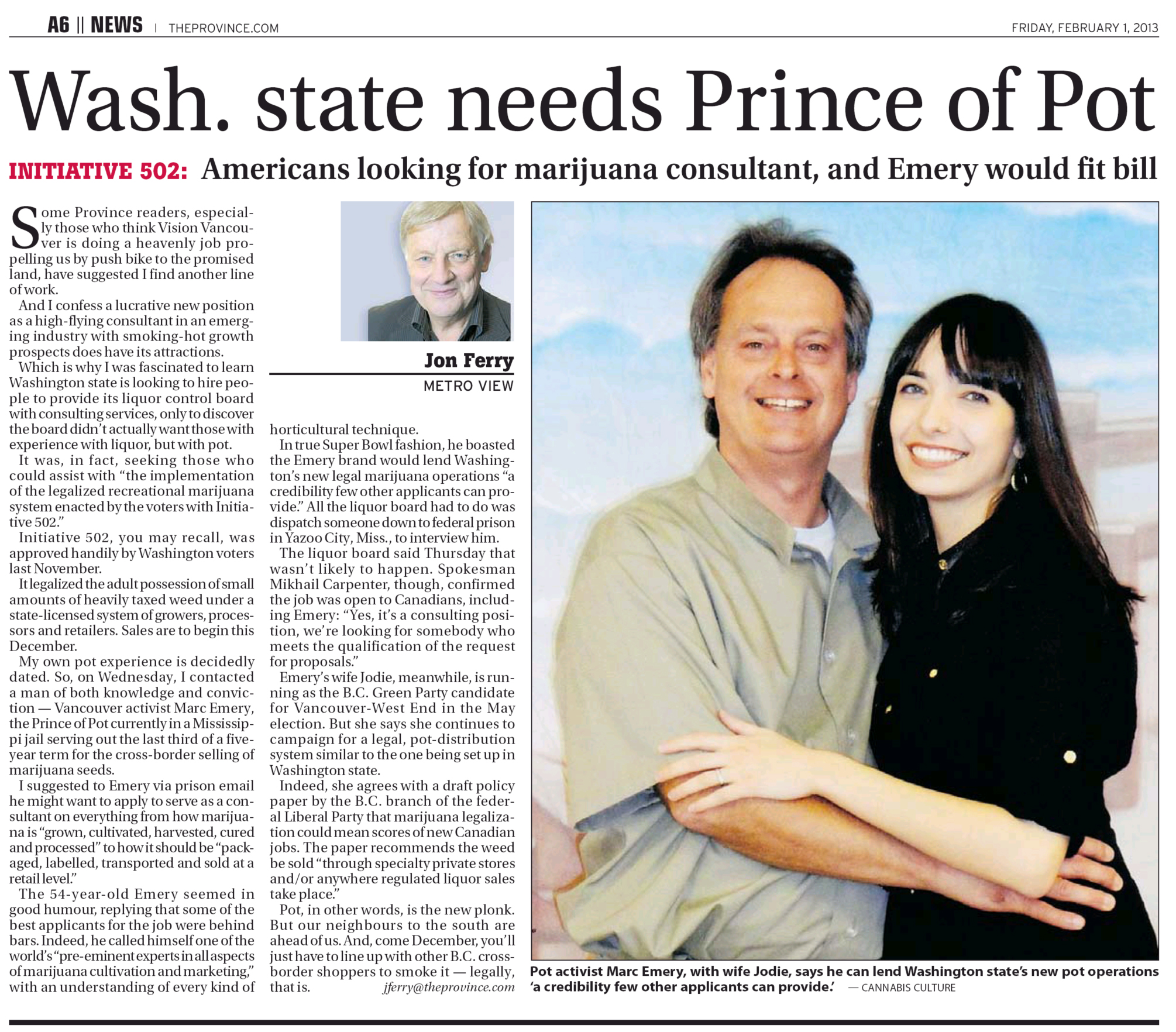 Marc and Jodie, Province newspaper