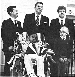 Johnathon Magbie (in wheelchair) with Reagan in 1982