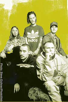 Our interviewee, 311 bassist P-Nut, in the Indica shirt. (center)