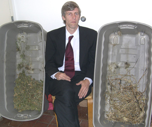 James Blair with a portion of his returned property in 2004